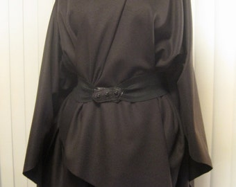 Muted Charcoal- Almost Black- Wool Blend Ruana Wrap Cape Poncho