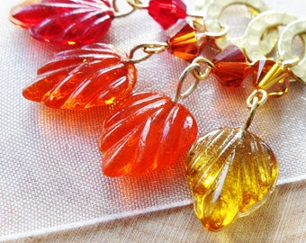 SALE - Autumn's Bliss - Four Snag Free Stitch Markers - Fits Up To 6.5 mm (10.5 US) - Limited Edition
