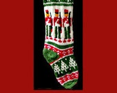 Hand knit Christmas stocking,  Personalized, made of pure wool yarn,  fully lined -- Nutcracker and snowflake.
