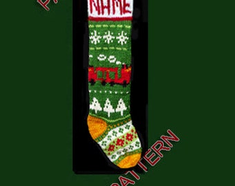 Pattern only  ---  Hand knit Christmas stocking,  snowflake, Christmas tree and train