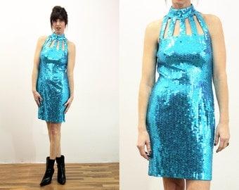 Sequin Stunner: Size 6 Teal Blue Sequin 90's Formal Mini Dress