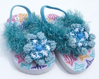 Toddler Girl Flip Flops Ocean Mist Sandals Aquamarine Toddler Sandals Small Toddler Girl Flip Flops Toddler Girl Sandals in Size 5/6