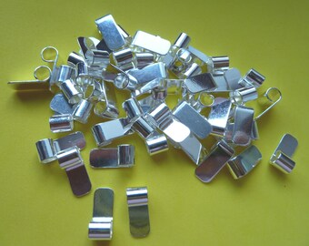 50 Medium S/P Tube Top Bail findings ideal for Pendants Silver Plated Flat pad Glue on
