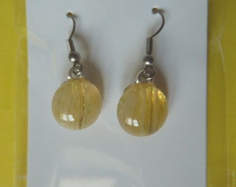 Hypo-Allergenic Light Amber Dichroic Glass Drop Earrings with Surgical Steel Ear Wires