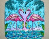 Coasters Set of 4, Home decor, Flamingo Love