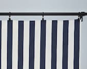 Window Valance Curtain Navy Blue White Stripes - Canopy Stripes  -  50x16 inches or 50x18 inches - Valence