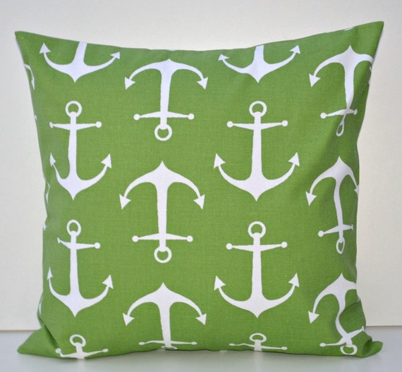 Anchors Decorative Toss Pillow Cover White Kelly Green