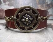 Simple Steampunk Dark Brown Leather Compass Cuff Adjustable