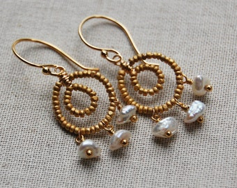 White Keishi Pearls and Matte Gold Seed Bead Earrings in Gold Filled