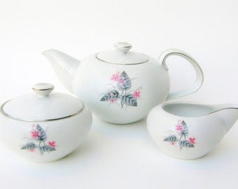 Tea Set, Mid Century Narumi Lyric: Atomic Floral Bone China Porcelain - Teapot, Creamer & Sugar Bowl