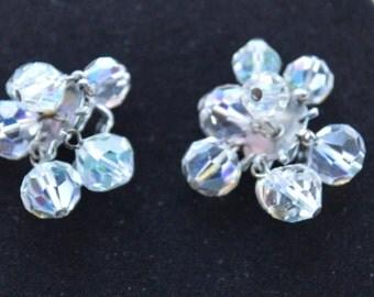 Sparkly Aurora Borealis Crystal Clip Earrings, Supplies, Repurpose, Destash, Upcycle (L17)