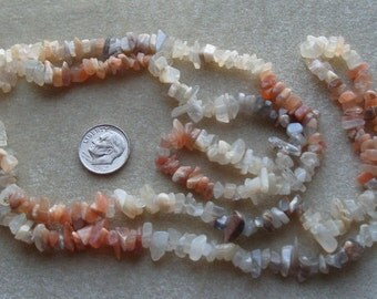 Full Strand of MultiColored Moonstone Small to  Medium Chips (181)