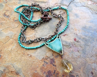 Turquoise, Ceramic and Lemon Quartz Necklace with Copper Patina Chain, Rustic Jewelry