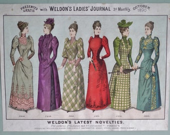 Antique Dressmaking Patterns Advertisement - Weldon's Latest Novelties 1890 - free flyer / insert Weldon's Ladies' Journal - fashion costume