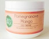 Pomegranate Mango Oil Cream with Shea Butter Coconut Oil + Olive Oil 4 oz Perfect as Massage Oil  Natural Body Cream