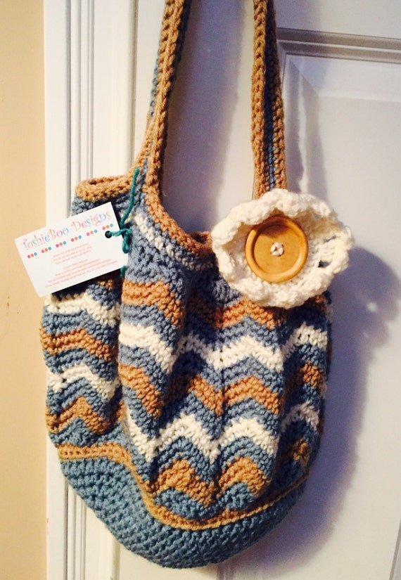 Beautiful Chevron Purse Crocheted in Soft Worsted in Soft Blue, Tan, and Ivory with a Large Blonde Wooden Button and Crocheted Flower