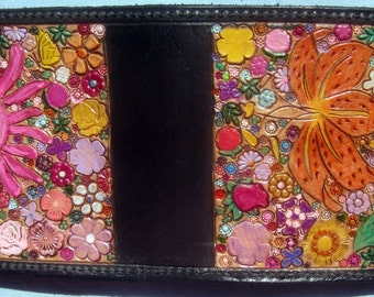 Leather Single Fold Wallet with Hidden Pocket Flower Garden Design Made in GA USA
