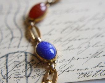 ANTIQUE 1920s Art Deco semi precious scarab 12K gold filled link bracelet Egyptian revival