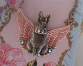 Bunny Wings Pendant ~ Bunny Rabbit ~ Pendant Necklace ~ Bunny Angel ~ Whimsical Jewelry ~ by Upswept illusions