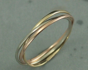 10K Super Skinny Minnie Rolling Ring--Tri Color Rolling Ring--Interlocking Bands--10K Gold Russian Wedding Band--TriColor Bands