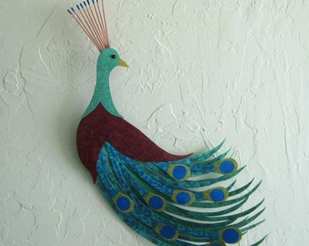 Metal Wall Art Peacock Sculpture Recycled Metal Teal Blue Burgundy Large Metal Bird Indoor Outdoor Living Room Decor  19 x 21