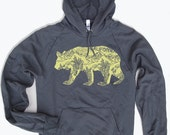 Unisex - California Bear  - Fleece PULLOVER Hoody - (5 Color Options) - American Apparel sizes xs s m l xl xxl