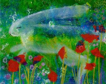 Happy Hoppy Spring Rabbit giclee print on paper by HappySoupShoppe