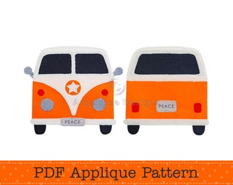 Camper Van Applique Template. Make Your Own Applique. Retro Car Design. PDF Applique Pattern