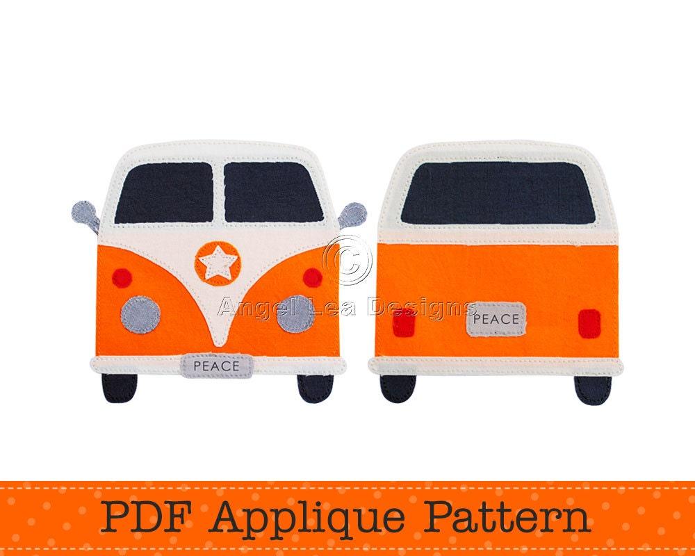 Design of a car pdf - Camper Van Applique Template Make Your Own Applique Retro Car Design Pdf Applique Pattern