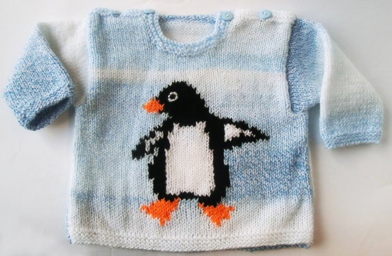 Baby Knitting Pattern Baby Penguin Sweater Pattern by RuthMaddock