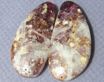 Pink Tourmaline and Lepidolite Mica in Albite Matched Pair Cabochons