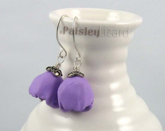 Purple Tulip Flower earrings, rustic polymer clay and glass beaded dangles on sterling silver wires