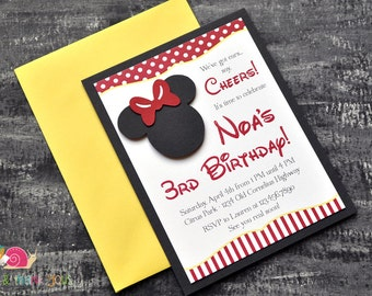 Minnie Mouse Invitations · A2 LAYERED · Red and Yellow · Birthday Party   Mickey Mouse Clubhouse   Preschool
