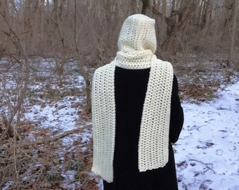 Cream hooded scarf, crochet hooded scarf, crochet scoodie, off-white scarf, ivory long scarf, long hooded scarf, cream crochet scarf