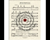 The Beatles All You Need Is Love Sheet Music Art Print, All You Need Is Love Song Lyric Art Print, Custom Art, Name & Date, Love Song, 8x10