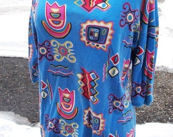 1970's Sasson Psychedelic Cotton Tee Shirt - Marked M, but fits L easily