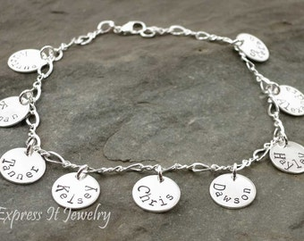 Grandmothers Bracelet Nine 9 Sterling Silver and Personalized Discs Customized