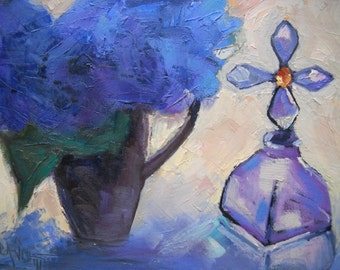 """Floral still life, Daily Painting, Small Oil Painting, """"Hydrangea and Cross Bottle"""" by Carol Schiff, 6x8"""" Original"""