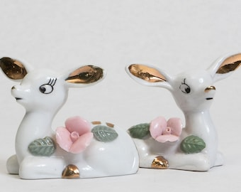 Set of Two Porcelain Deer Fawn