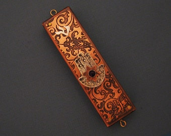 Moroccan Mezuzzah in Etched Copper with Sterling Silver Hamsa and Gemstone