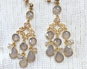 Beige Chandelier Earrings, Grey Chalcedony Gemstone Earrings,  Wire Wrapped Chandelier Earrings, Gold Chandelier Earrings. Pearl Chandelier
