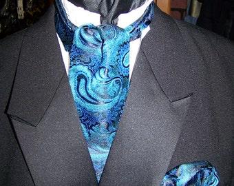 """Men's Wedding Tie, Ascot or Carvat peacock paisley print Brocade fabric 4"""" x 45"""" Mens Historial Wedding, cravat tie"""