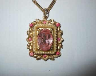 Coro Pegasus Pink Rhinestone and Faux Pearl Necklace