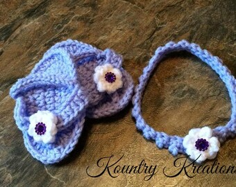 Crocheted baby flip flops and matching headband/ crochet baby sandals and matching headband/NEWBORN Flip Flops with Flower  (Ready to Ship)