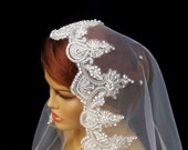Bridal Veil Vintage Inspired Traditional Cap Veil Wedding Cathedral Length Scalloped Edge