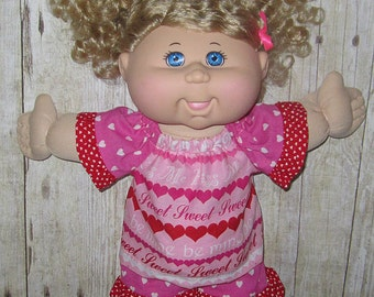 """Cabbage Patch, Doll Clothes,  Be Mine Short Set,  14""""  or 15"""" Doll Clothes, Adoptimals"""