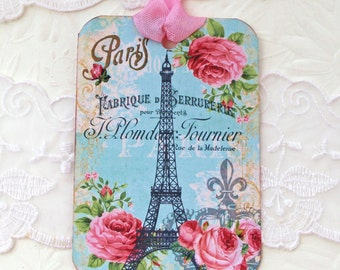 Tag French Paris, Eiffel Tower tags, Gift Hang Tags, French tags, Paris Birthday,Bridal Shower,High Tea Party,Pink Roses, Handmade Australia