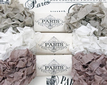 Shabby Crinkled Seam Binding Ribbon, Beige, White, Taupe, Rayon Ribbon, French Vintage,Scrapbooking, Sewing, Doll Bear Making, Cobblestones
