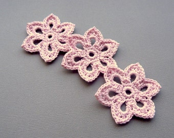 3 Pale Pink Flower Appliques -- 2 inch Diameter, Crochet Flowers