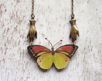 Red and Yellow - Wooden Butterfly and Oxidized Copper Chain Handmade Necklace